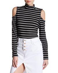 Bobeau | Black Long Sleeve Cold Shoulder Mock Turtleneck Shirt | Lyst