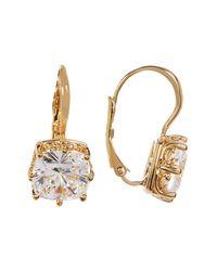 Nadri - Metallic Square Crystal Solitaire Drop Earrings - Lyst