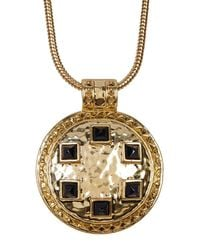 House of Harlow 1960 | Metallic Studded Round Pendant Mesh Chain Necklace | Lyst