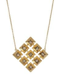 House of Harlow 1960 - Metallic Embellished Grid Square Pendant Necklace - Lyst