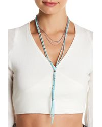 Sparkling Sage | Metallic Layered Chain & Faux Suede Lariat Necklace | Lyst