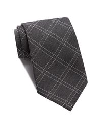 John Varvatos | Black Windowpane Check Wide Tie for Men | Lyst