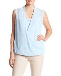 Laundry by Shelli Segal | Blue Sleeveless Drape Front Blouse | Lyst