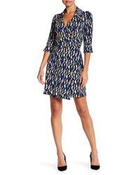 Laundry by Shelli Segal | Blue Geo Print Wrap Dress (petite) | Lyst