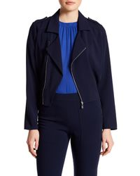 Laundry by Shelli Segal | Blue Asymmetrical Front Zip Jacket | Lyst