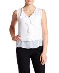Laundry by Shelli Segal | White Sleeveless Front Ruffle Blouse | Lyst