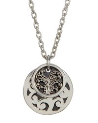 Lois Hill - Metallic Sterling Silver Medium Hand Carved Double Round Disc Pendant Necklace - Lyst