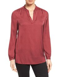 Nordstrom Collection | Red Split Neck Print Stretch Silk Blouse | Lyst