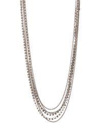 Cara - Metallic Glass Crystal Multi-strand Necklace - Lyst
