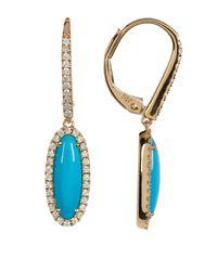 Bony Levy | Metallic 18k Yellow Gold Turquoise & Diamond Leverback Earrings | Lyst