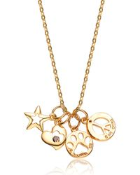 Genevive Jewelry | Metallic Gold Plated Sterling Silver Cz Accented Charm Necklace | Lyst