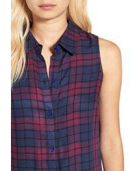 Love, Fire Blue Sleeveless Plaid Shirtdress
