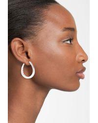 Nadri - Metallic Sculpted Sterling Silver Hoop Earrings - Lyst