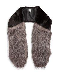 Halogen   Black Faux Fur Stole   Lyst