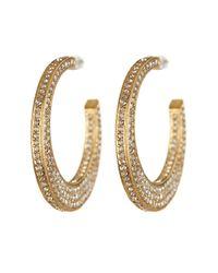 Nadri - Metallic 18k Gold Clad Pave Flat Crystal Hoop Earrings - Lyst