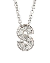 "Nadri | Multicolor Pave ""s"" Initial Pendant Necklace 