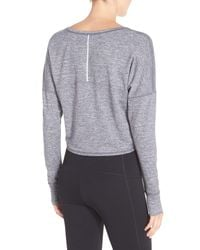 Zella - Gray Ready Or Not Crop Pullover Tee - Lyst