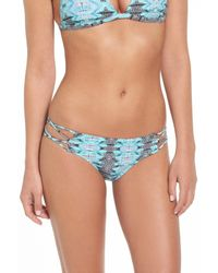 Volcom | Black 'heat Waves' Strappy Cheeky Bikini Bottoms | Lyst