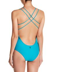 Volcom - Blue Simply Solid Strappy One Piece - Lyst