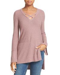 Free People | Purple Crisscross Long Sleeve Sweater | Lyst