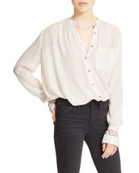 Free People | White The Best Button Front Blouse | Lyst