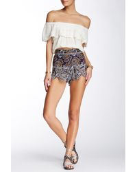 Free People | Blue Sheer Yoke Floral Skort | Lyst