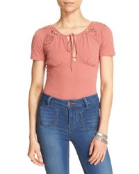 Free People - Blue 'blast From The Past' Front Keyhole Tee - Lyst