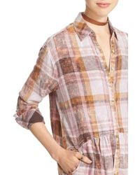 Free People Pink Easy Street Cotton Plaid Tunic