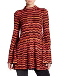 Free People | Red Zig-zag Knit Sweater Tunic | Lyst