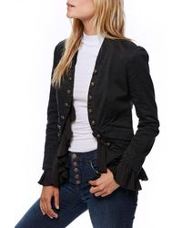 Free People | Black Romantic Ruffle Jacket | Lyst