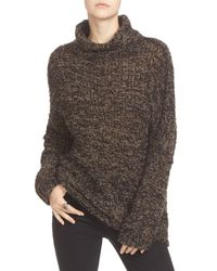 Free People | Black 'she's All That' Knit Turtleneck Sweater | Lyst