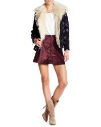 Free People | Purple Velvet Back Zip Mini Skirt | Lyst