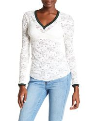Free People   White Lace Long Sleeve Shirt   Lyst