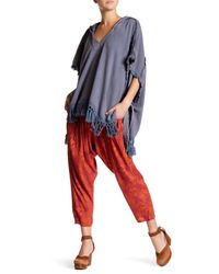 Free People | Blue Stripes Out Poncho | Lyst