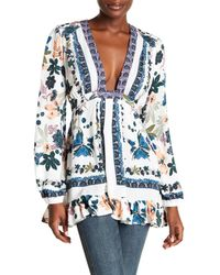 Free People | White Violet Hill Floral Printed Tunic | Lyst