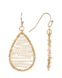 Panacea | White Imitation Seed Pearl Bead Teardrop Earrings | Lyst