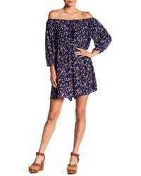 Soprano | Blue Off-the-shoulder Print Shift Dress | Lyst