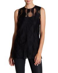 DKNY | Black Mesh Sleeveless Blouse | Lyst