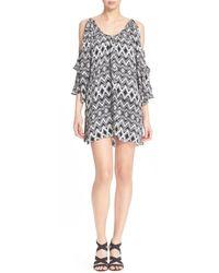 Parker | Multicolor Agave Floral Print Cold Shoulder Silk Dress | Lyst