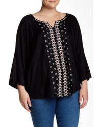 Angie | Black 3/4 Sleeve Embroidered Tunic (plus Size) | Lyst