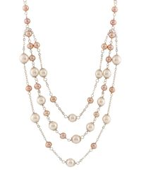Splendid - 6-9mm White Cultured Freshwater Pearl Triple Row Tin Cup Station Necklace - Lyst