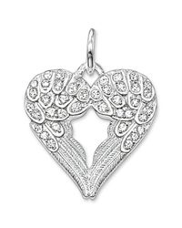 Thomas Sabo | Metallic Sterling Silver Cz Pave Winged Heart Pendant | Lyst