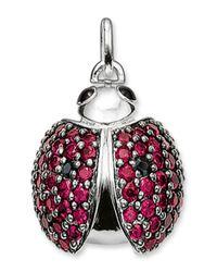 Thomas Sabo - Red Sterling Silver Cz & Rhinestone Embellished Ladybug Pendant - Lyst