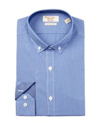 Original Penguin | Blue Zigzag Slim Fit Dress Shirt for Men | Lyst