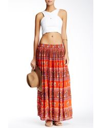 Raga - Orange Long Pleated Skirt - Lyst
