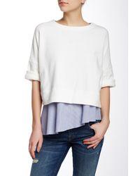 10 Crosby Derek Lam | White 2 In 1 Short Sleeve Sweatshirt | Lyst