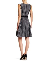 Oscar de la Renta | Black Sleeveless Crew Neck Print Dress | Lyst
