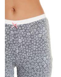 Kensie - Gray Print Capri Pajama Pant - Lyst