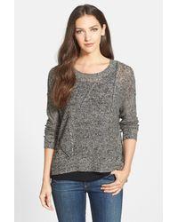Eileen Fisher | Black Scoop Neck Organic Linen Sweater | Lyst
