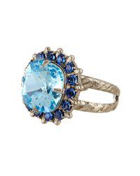 Sorrelli - Blue Cushion-cut Swarovski Crystal Ring - Lyst